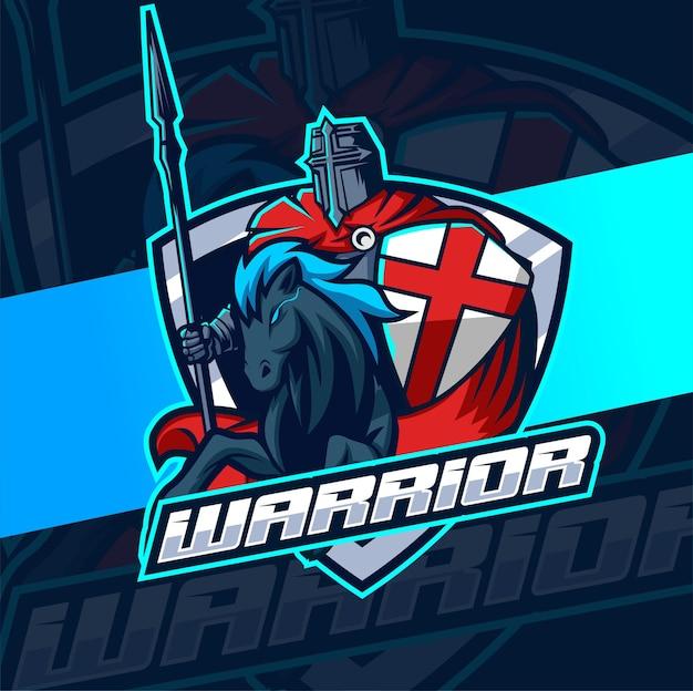 Rycerz wojownika z e-sportową maskotką konia do projektowania logo gier i sportu