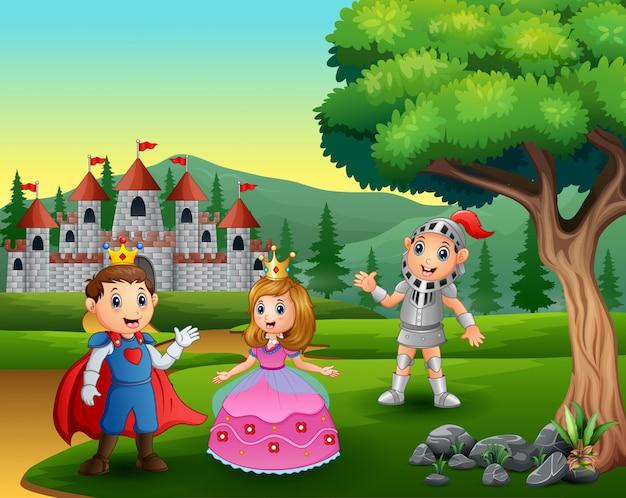 Rycerz z księżniczką i księciem na drodze do zamku
