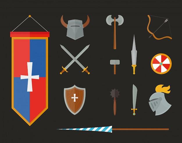 Rycerz zbroja z hełmem, klatka piersiowa talerzem, tarczą i mieczem płaską ilustracją odizolowywającą na białym tle.