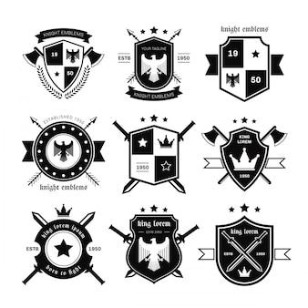 Rycerze emblematy wektor