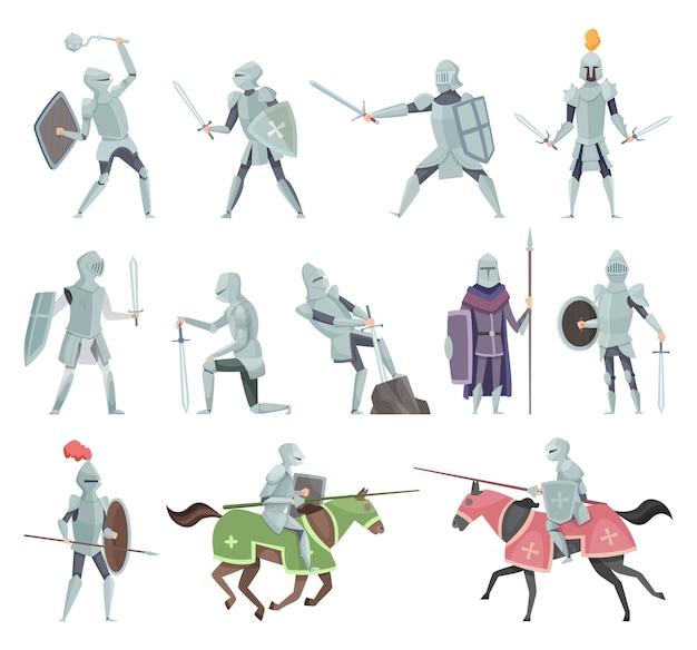Rycerze. średniowieczne zbroje bitewne postaci krzyżowców historycznych maskotek bitwy wektor kreskówka. jeździec i ilustracja miecz, maczuga i tarcza