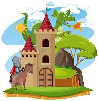 Rycerze walczą ze smokiem na zamku