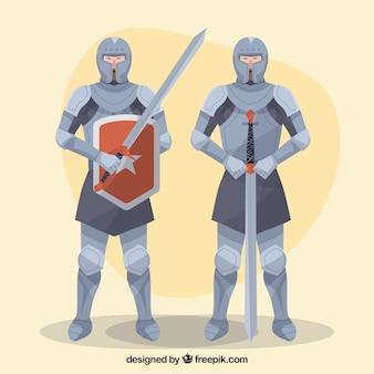 Rycerze zbroi z mieczami