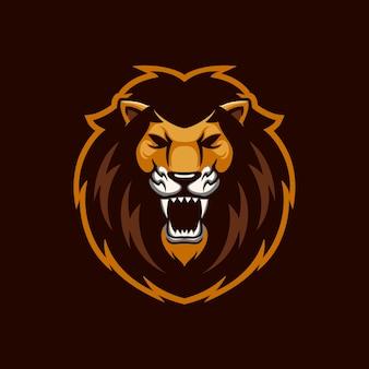 Rycząca głowa lwa kreskówka logo szablon ilustracja. gry z logo e-sportu