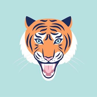 Rycząca głowa tygrysa. ilustracja wektorowa modny kolor. rok tygrysa 2022