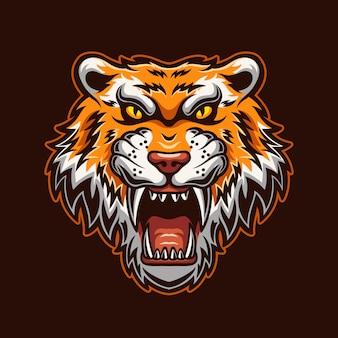 Ryczący tygrys głowy kreskówka logo szablon ilustracja. gry z logo e-sportu