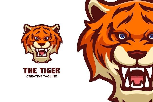 Ryczący tygrys maskotka logo znak