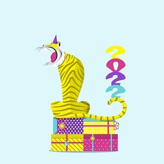 Ryczący tygrys siedzący na prezenty. symbol 2022. ilustracja wektorowa płaskie.