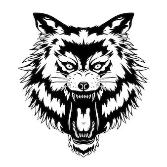 Ryczący wilk głowa ilustracja wektorowa z ręcznie rysowanym stylem