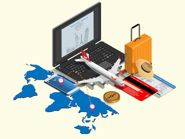 Rynek e-commerce, zakupy i dostawa online. koncepcja izometryczna