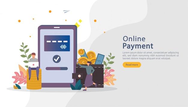 Rynek handlu elektronicznego robi zakupy online ilustrację z postaci małymi ludźmi. płatność mobilna lub przelew