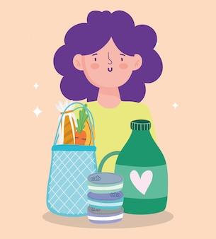 Rynek internetowy, kobieta z torbą sok butelka chleb, dostawa żywności w ilustracji sklep spożywczy