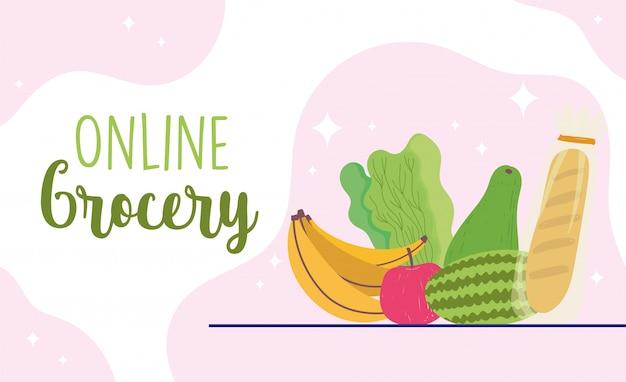 Rynek internetowy, sklep z owocami i chlebem sklep spożywczy dostawa do domu