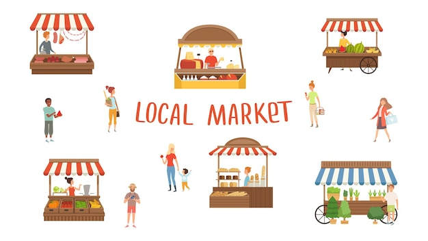 Rynek lokalny. festiwal jedzenia, sprzedawcy i klienci.