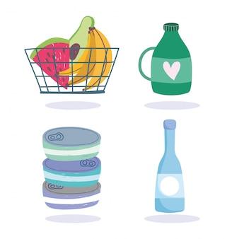 Rynek online, koszyk z owocami i produktami dostawa żywności w ilustracji sklepu spożywczego