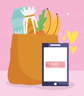 Rynek online, papierowa torba na smartfony z produktami, dostawa żywności w sklepie spożywczym