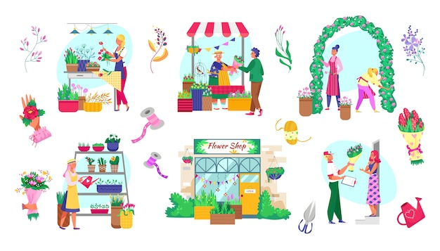 Rynek roślin i kwiatów zestaw pojedynczych ilustracji