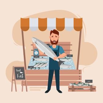 Rynek Rybny I świeżość Owoców Morza W Lodówce Premium Wektorów