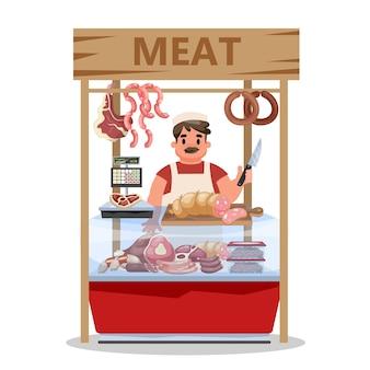 Rynek świeżego mięsa. sprzedawca stoi przy ladzie w fartuchu