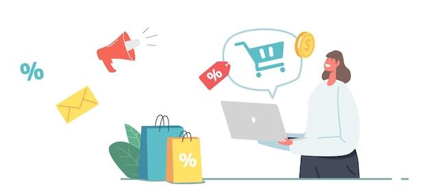Rynek, zakup jednym kliknięciem, koncepcja zakupów online. postać kobiecego klienta z torby na zakup za pośrednictwem laptopa. dziewczyna użyj aplikacji do zakupów, cyfrowy sklep internetowy. ilustracja kreskówka wektor