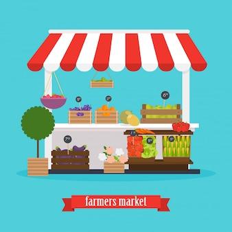 Rynku Rolników. Rynek Lokalny Owoce I Warzywa. Premium Wektorów