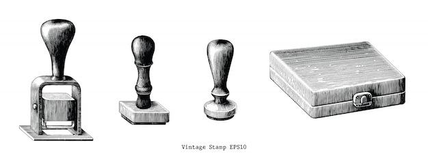 Rysować ręka starodawny stempel na białym tle