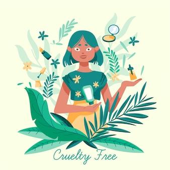 Rysowana kobieta trzyma produkty wegańskie