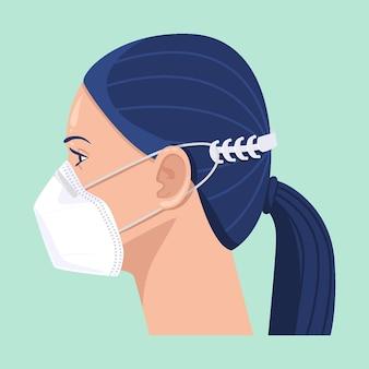 Rysowana kobieta ubrana w regulowany pasek maski na twarz