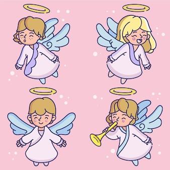 Rysowana kolekcja aniołów bożego narodzenia