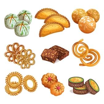 Rysowana kolekcja indyjskich słodyczy
