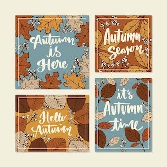 Rysowana kolekcja jesiennych kart