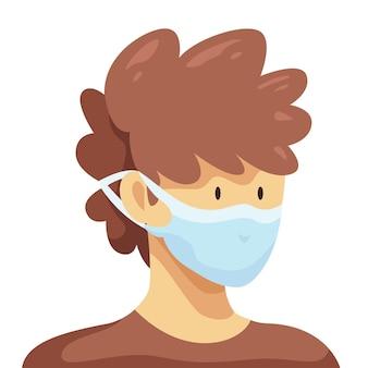 Rysowana osoba w regulowanej masce na twarz