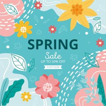 Rysowana promocja wiosennej sprzedaży zilustrowana