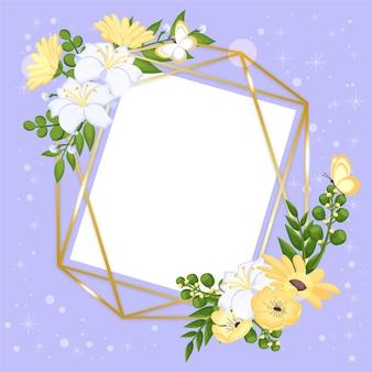 Rysowana śliczna wiosenna ramka w kwiaty