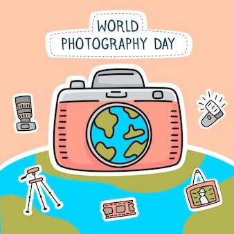 Rysowana światowego dnia fotografii ilustracja