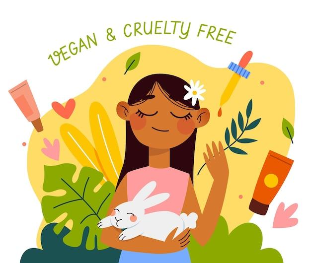 Rysowana, wolna od okrucieństwa i wegańska ilustracja