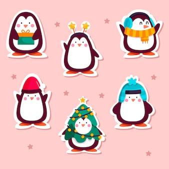 Rysowana zabawna kolekcja naklejek z pingwinami