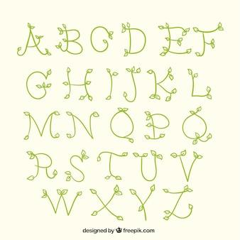 Rysowane alfabetu z gałęzi i liści