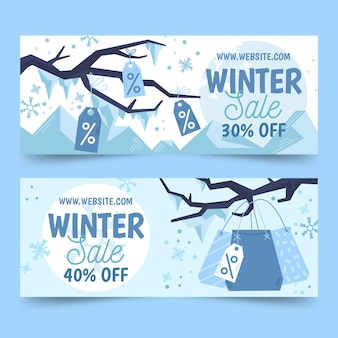 Rysowane banery sprzedaży zimowej