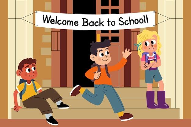 Rysowane dzieci z powrotem do szkoły ilustracji
