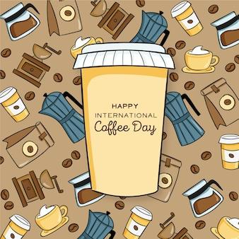 Rysowane ilustracja międzynarodowego dnia kawy