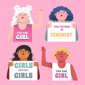 Rysowane ilustracje międzynarodowego dnia kobiet