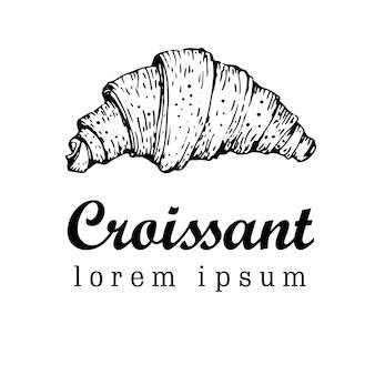 Rysowane ilustracji wektorowych croissant. styl retro