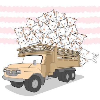 Rysowane koty kawaii na ciężarówce.