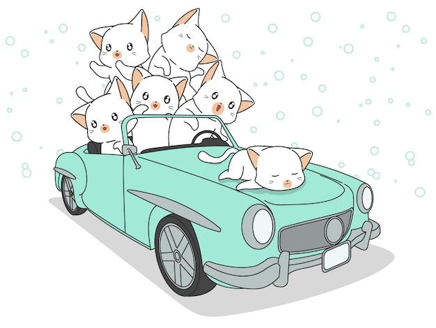 Rysowane koty kawaii w zielonym samochodzie.
