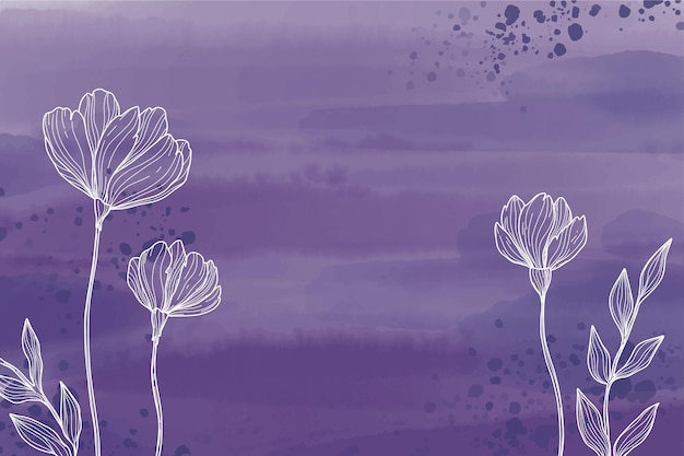 Rysowane kwiaty akwarela tło