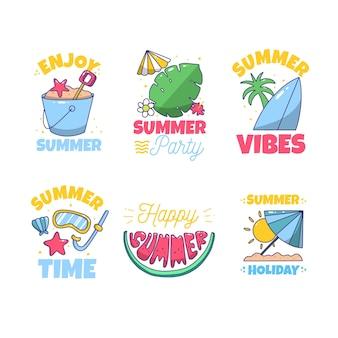 Rysowane letnie etykiety