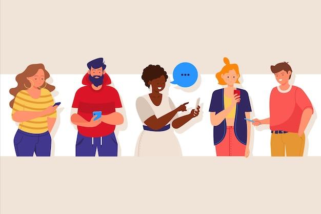 Rysowane młode osoby korzystające ze smartfonów