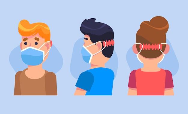 Rysowane osoby noszące regulowany pasek maski na twarz