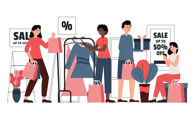 Rysowane osoby robią zakupy na wyprzedaży